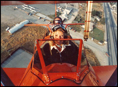 Stearman departing Meadowlark Airport in the 1980s