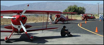 Aircraft wait at the starting line