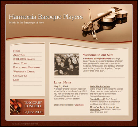 New Harmonia Baroque web site