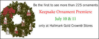Hallmark advertisement for Christmas ornaments