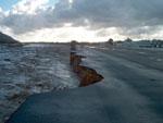 Runway damage at Santa Paula Airport