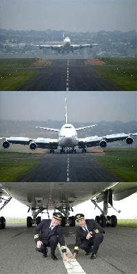 747 landing on a 50 foot wide runway