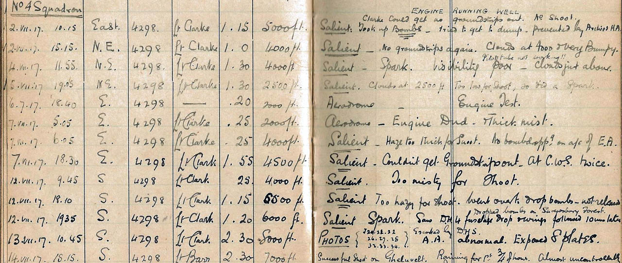 A pilot logbook from the first World War, circa 1917.  Even the handwriting tells a story.