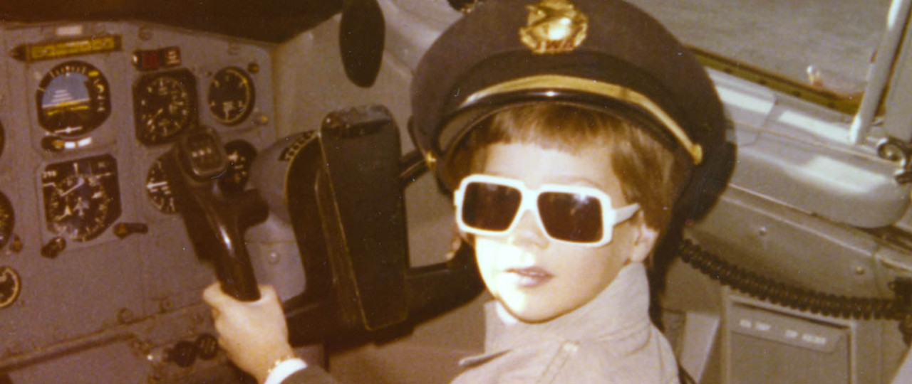"""""""Ladies and gentlemen, this is your captain...""""  Trying out the right seat on a Boeing 727 at Lambert Field in St. Louis in 1977."""