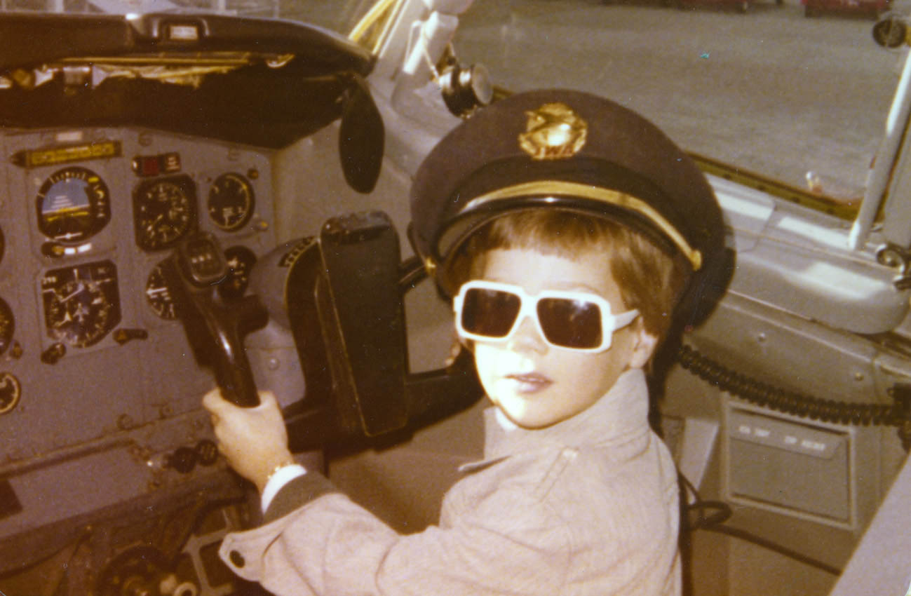 """Ladies and gentlemen, this is your captain..."" Trying out the right seat on a Boeing 727 at Lambert Field in St. Louis in 1977."