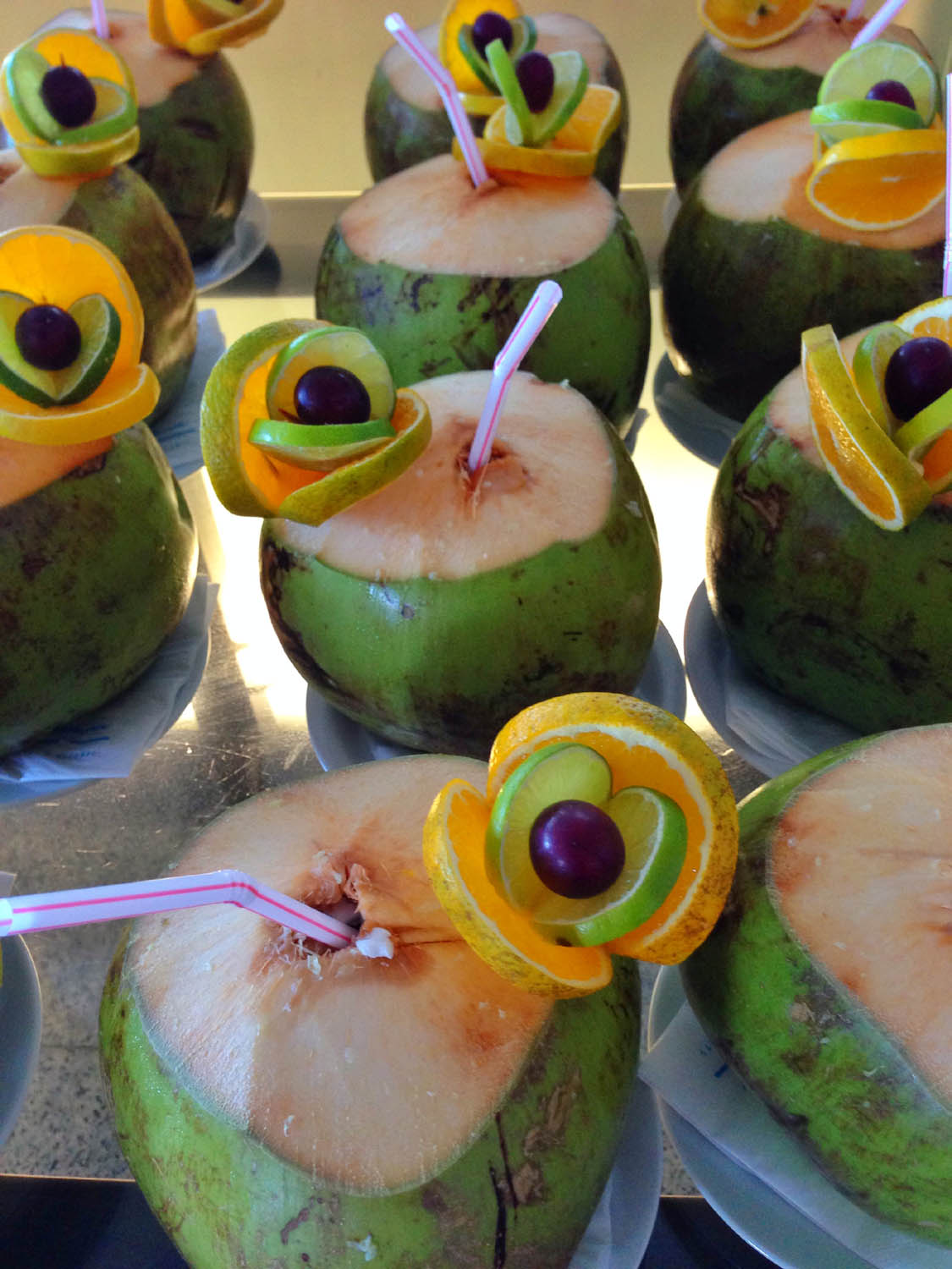 Vitamin water, Brazilian style: straight from the coconut.  Though it wasn't always served this way, coconut water seemed to be available everywhere.