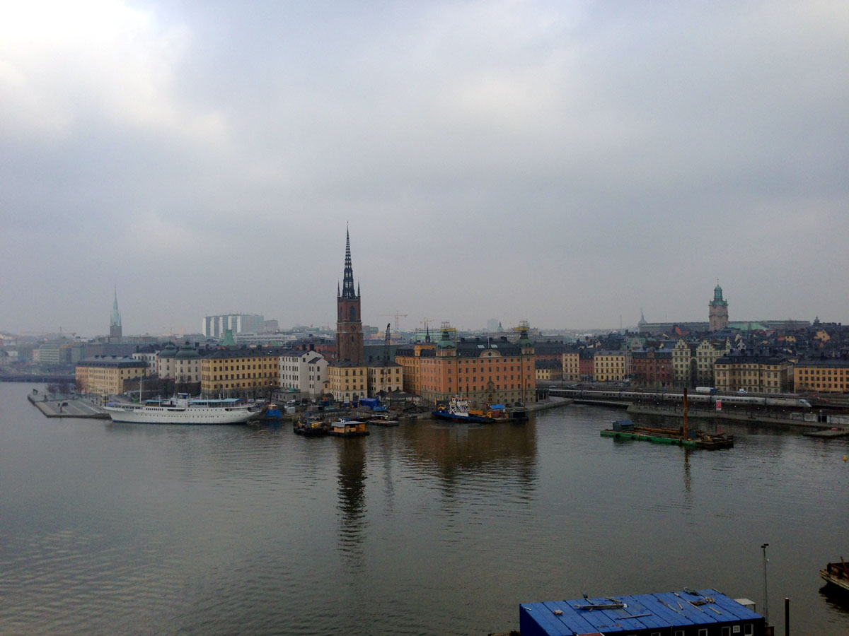 """A view of the """"old city"""" from across the river."""