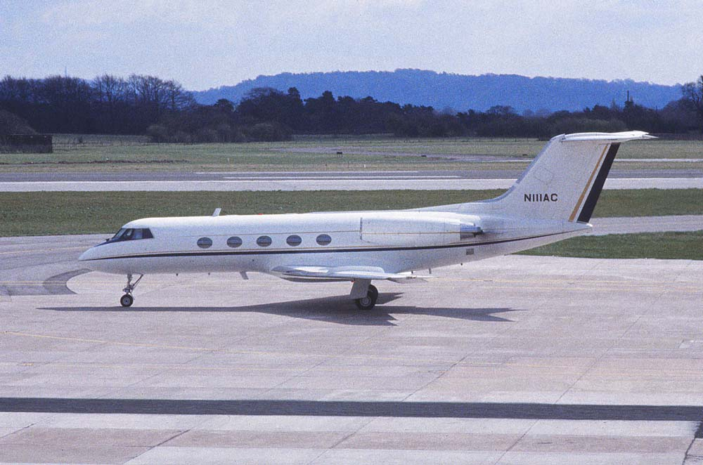 This is one of the first shots Matt took when his father bought him his first camera as a teenager. This is Grumman Gulfstream II serial no 74 and registered N111AC, and was taken at Matts local airport Manchester UK in July 1981. A little grainy as it is scanned from a 35 year old slide.