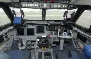 The Shuttle Training Aircraft flight deck:  half space shuttle,  half Gulfstream.