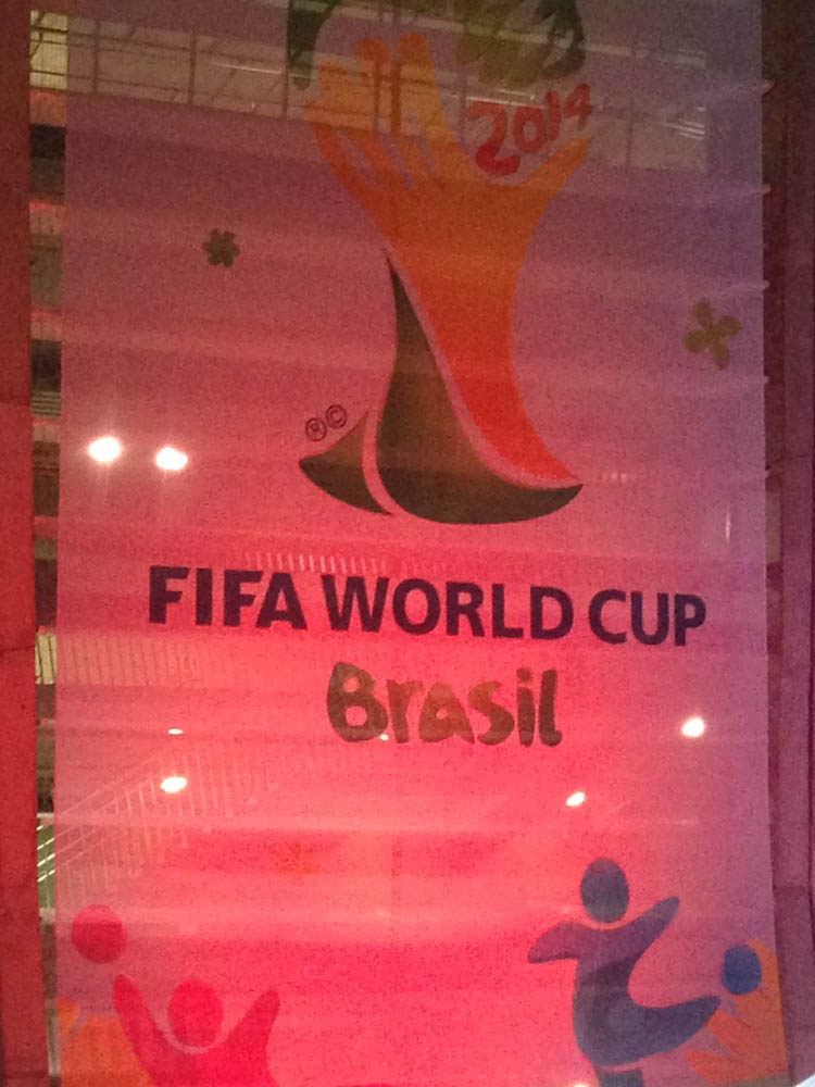 This giant banner welcomes you to an official World Cup game in Salvador