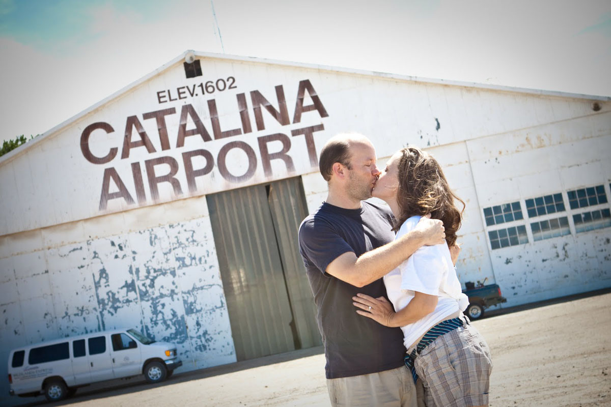 In front of the famous Catalina Airport hangar.  We had a moment there on our first date.