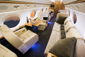 A typical Gulfstream interior. This layout isn't just more comfortable — it's also designed to facilitate discussion and interaction among the occupants.