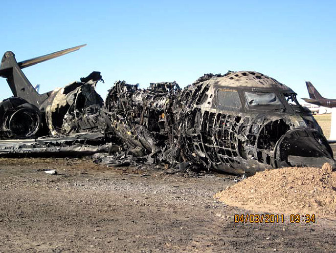 The remains of the ill-fated G650