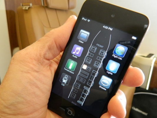 """There's an app for that!"" The Gulfstream Elite cabin can be controlled from iOS devices."