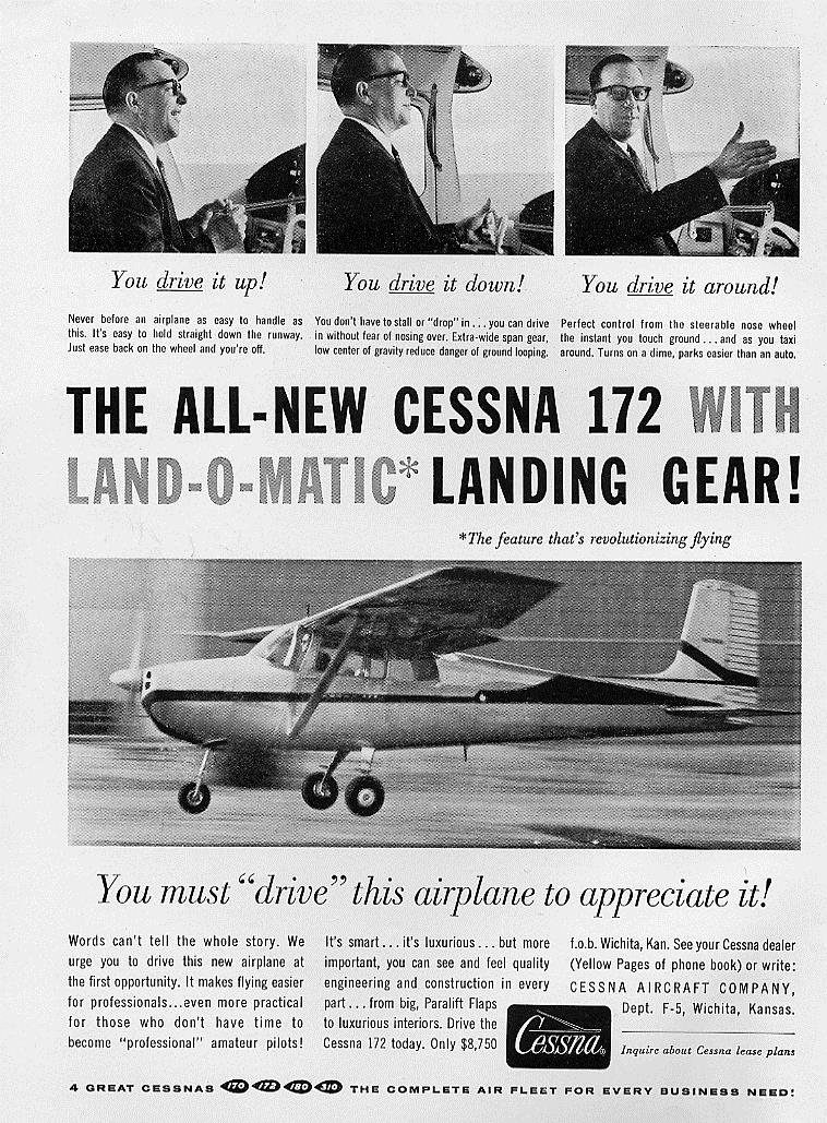 "The top of the slippery slope: a late 50's advertising campaign based on the concept that flying = driving.  Every time I see this, all I can think is ""no, No, NO!"""