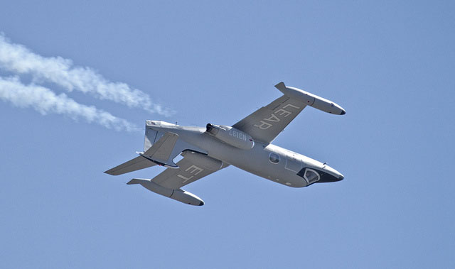 Clay Lacy has been flying an airshow sequence in his 1966 Lear 24 for many years.