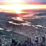 After a long night of flying, we were rewarded with this brilliant sunrise as we passed over Manhattan at 3,000 feet.