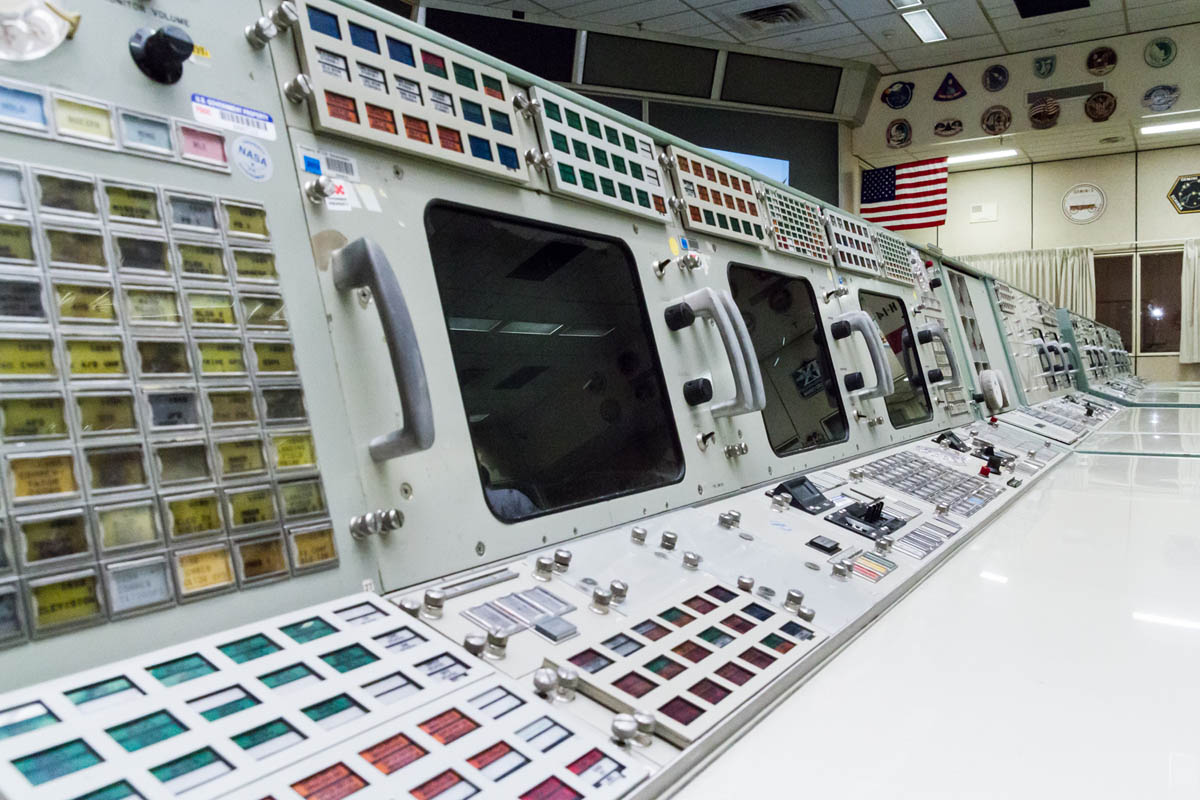 Apollo mission control console. The displays were just that: displays. All they did was broadcast a picture of textual data which could not be processed or changed. Note the lack of a keyboard to interact with the computer!