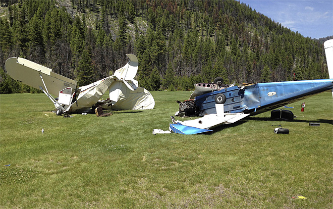 It can happen anywhere.  These two aircraft, an Arrow and a TriPacer, collided in Idaho recently.
