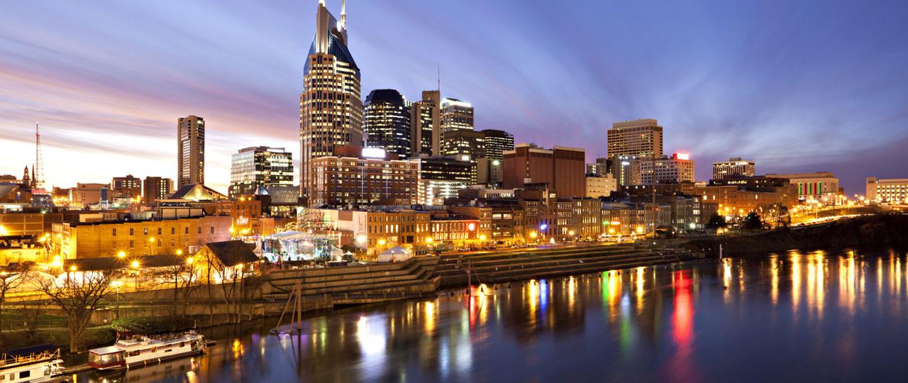 Nashville riverfront at night