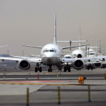 Planes await takeoff at Newark Liberty International Airport