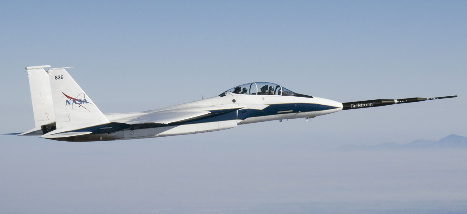 What's stranger than a 24 foot spike on the front of an F-15?  A Gulfstream logo on an F-15.