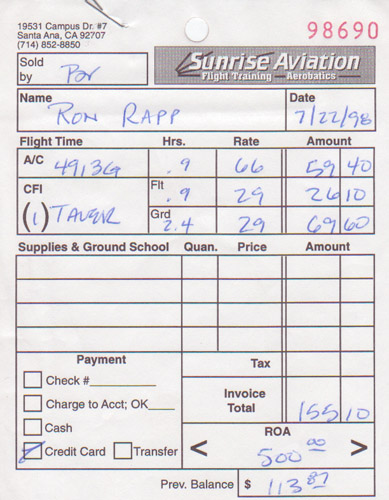The bill from my first flight.  Ah, the good old days!  Of course, we'll be saying that about *today's* rates at some point, too...