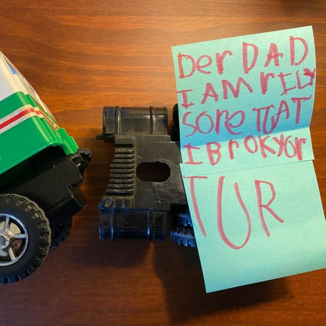 That's ok, kid. It was old anyway. And it was totally worth it to get your note. :)