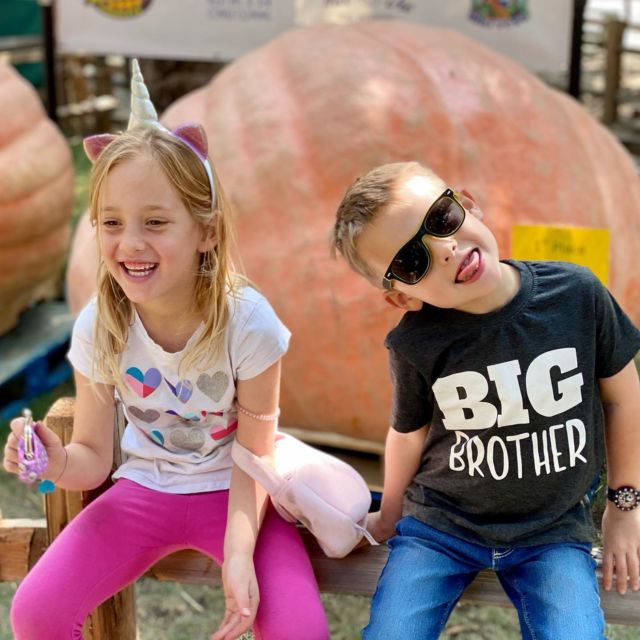 """When I told him to pick out a pumpkin, he selected the 1,730 lb one behind him. I muttered, """"Everyone's a comedian."""" His reply: """"Not everyone, Dad. Just me."""""""