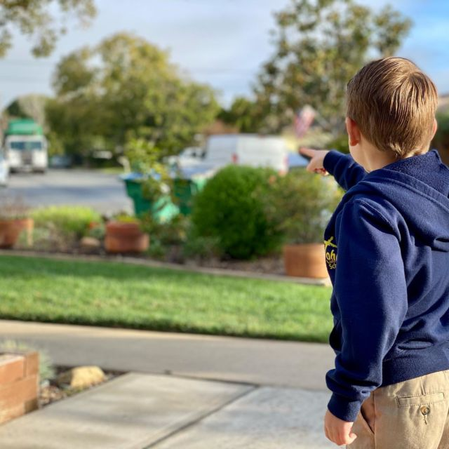 The weekly appearance of the trash truck is a great moment in the life of any little boy.