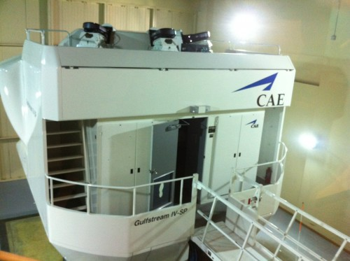 Exterior of a Gulfstream IV-SP simulator at the CAE Simuflite facility in Dallas, TX