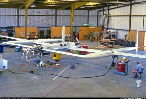 The famous Rutan Voyager in the hangar.  Note the composite MT Propeller assemblies on the front and rear engines.  They were replaced a few months later with metal props after losing a blade in flight.