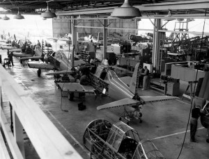 PT-22 aircraft under construction at the Vultee plant in Downey