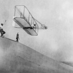 Before they flew the powered aircraft, the Wrights researched and practiced using unpowered gliders of their own design.